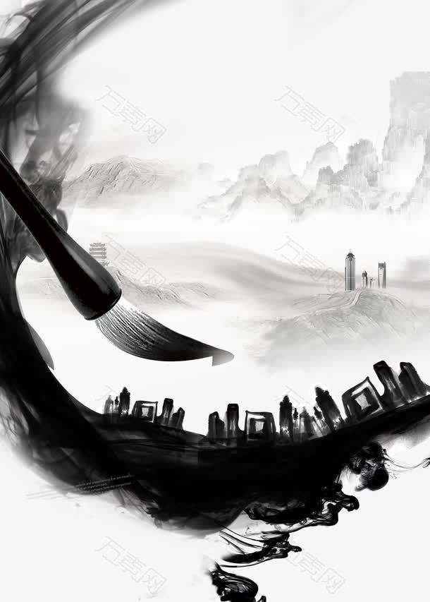 中国风墨画