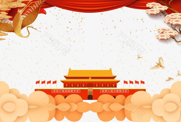 红色喜庆中国风国庆边框