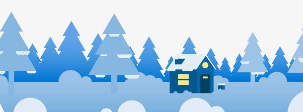 矢量雪夜下的房子