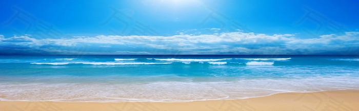 蓝天沙滩 背景banner