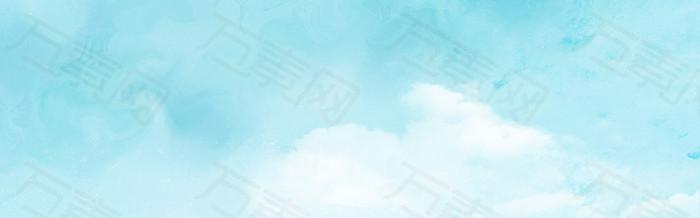 绿色渐变 白云 背景 banner