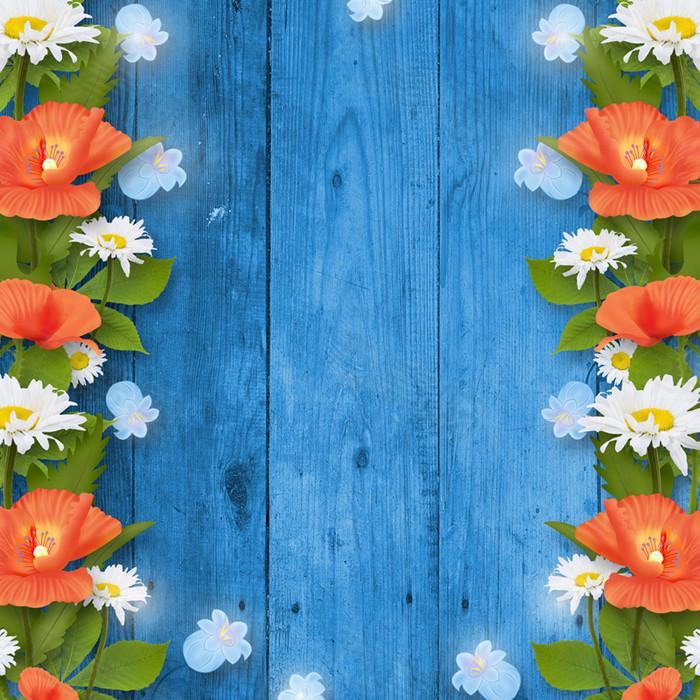 文艺木板花朵边框背景图