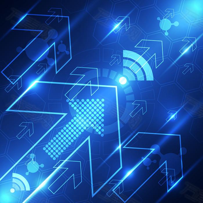 蓝色科技箭头背景矢量素材