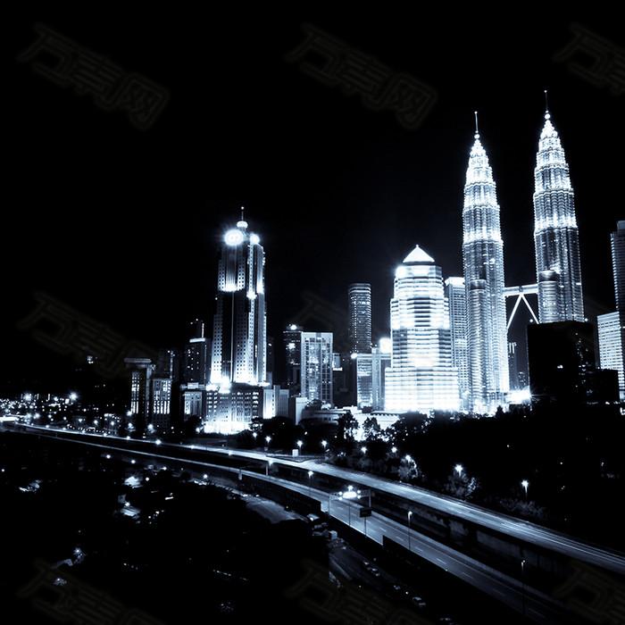 吉隆坡夜景背景