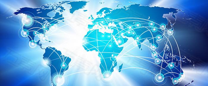 商务信息科技与世界地图banner背景