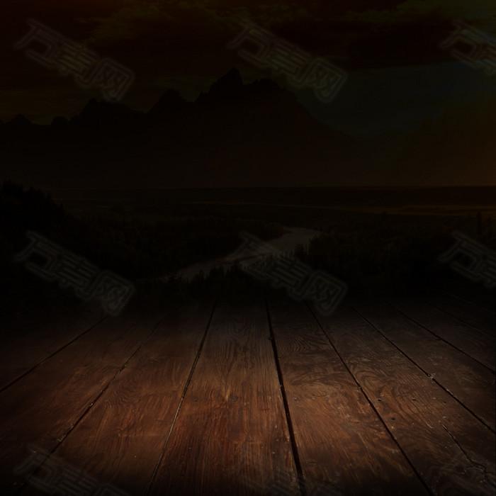 木板商务黑色背景主图
