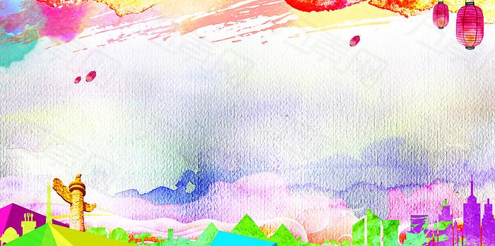 彩色唯美中国风背景