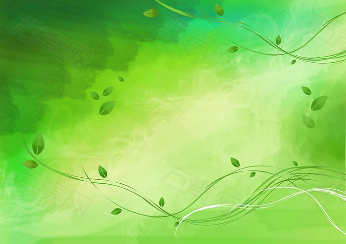 绿色手绘藤蔓背景