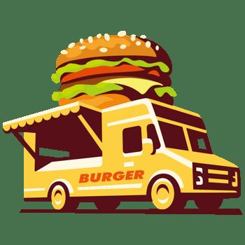 卡通食品路边摊外卖汽车汉堡包