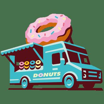 卡通食品路边摊外卖汽车甜甜圈