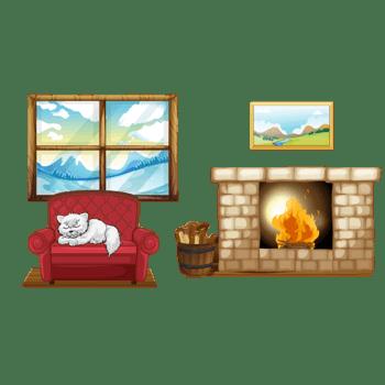 卡通冬季温暖木屋矢量素材