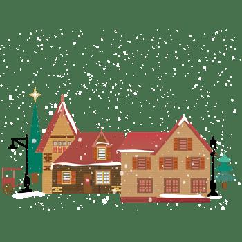 冬季雪地木屋