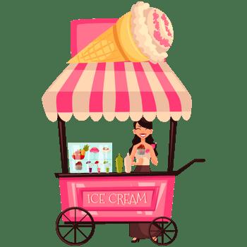 卡通食品路边摊外卖车冰激凌