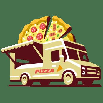 卡通食品路边摊外卖汽车披萨