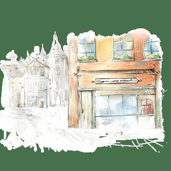 手绘 背景 淡色 水彩 路边 餐厅