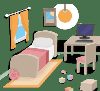 创意卧室设计矢量素材