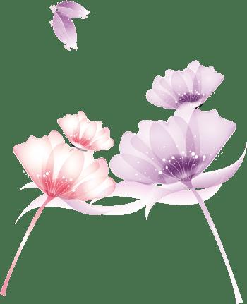 粉色紫色梦幻手绘花装饰图案粉色花堆