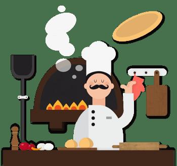 卡通矢量大厨做披萨