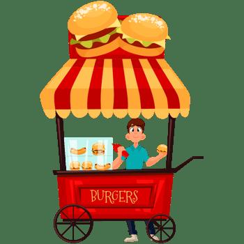 卡通食品路边摊外卖车汉堡