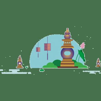 西湖中秋节装饰风景图案