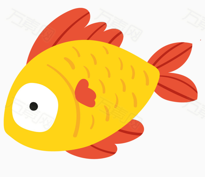 卡通鱼 手绘鱼 黄色鱼 卡通 鱼类 海底动物 海