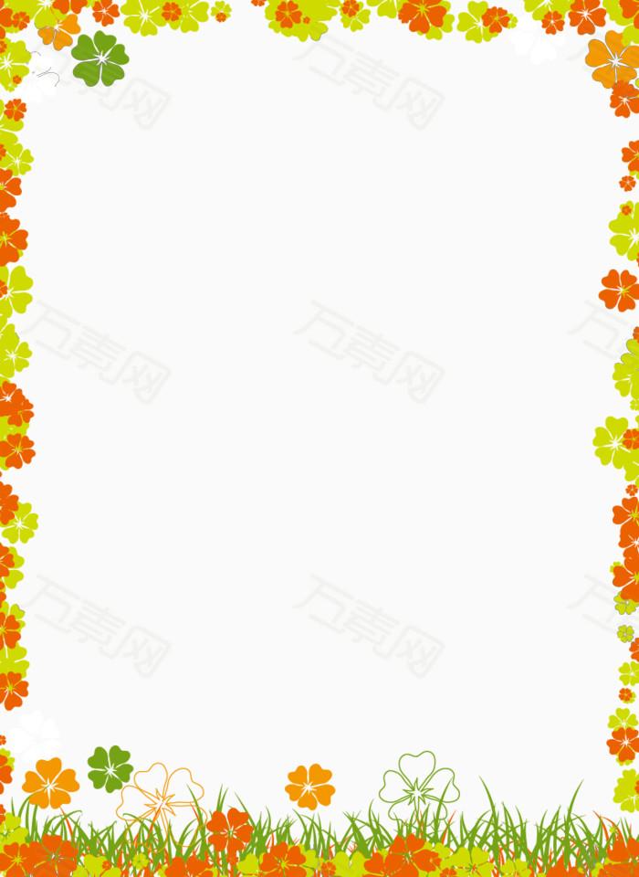 四叶草边框矢量图图片免费下载_卡通手绘_万素网图片