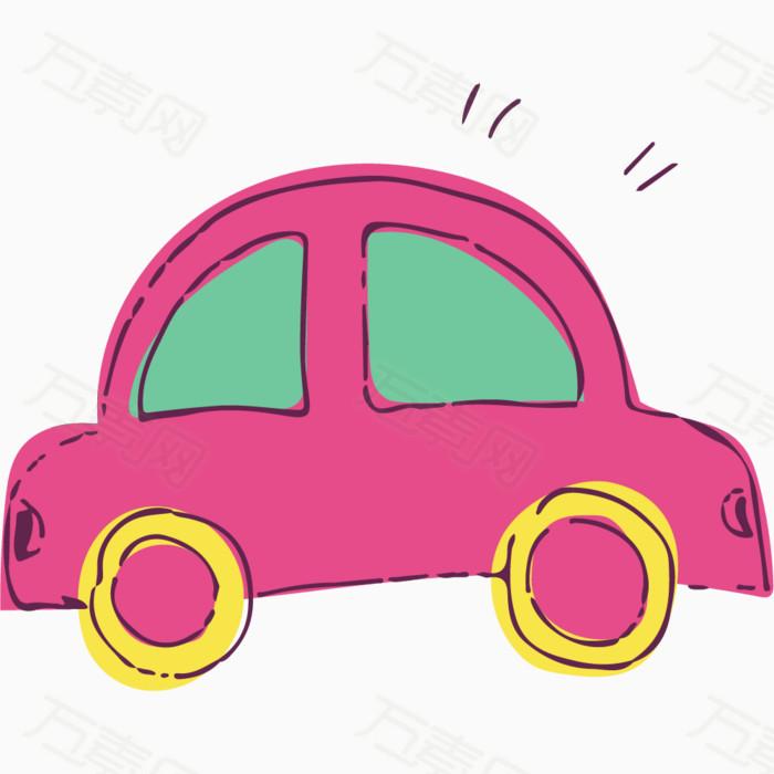 卡通手绘粉色小汽车
