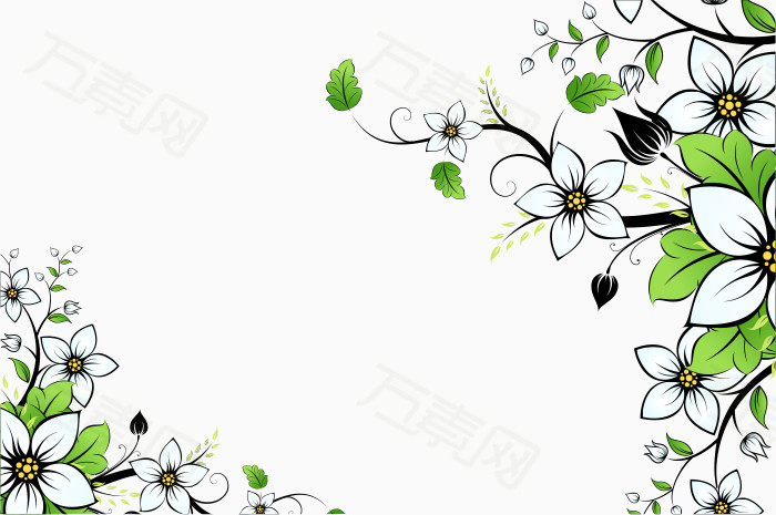 卡通手绘花朵绿叶装饰边框