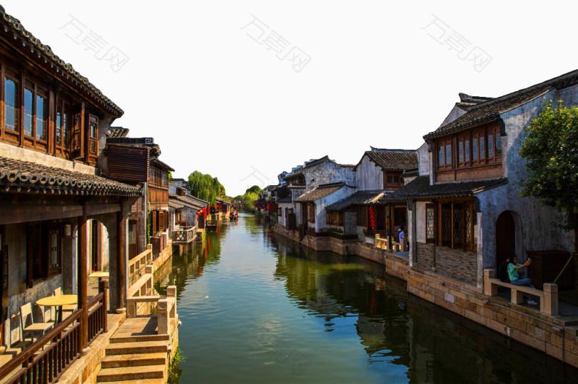 江苏无锡荡口古镇风景摄影图