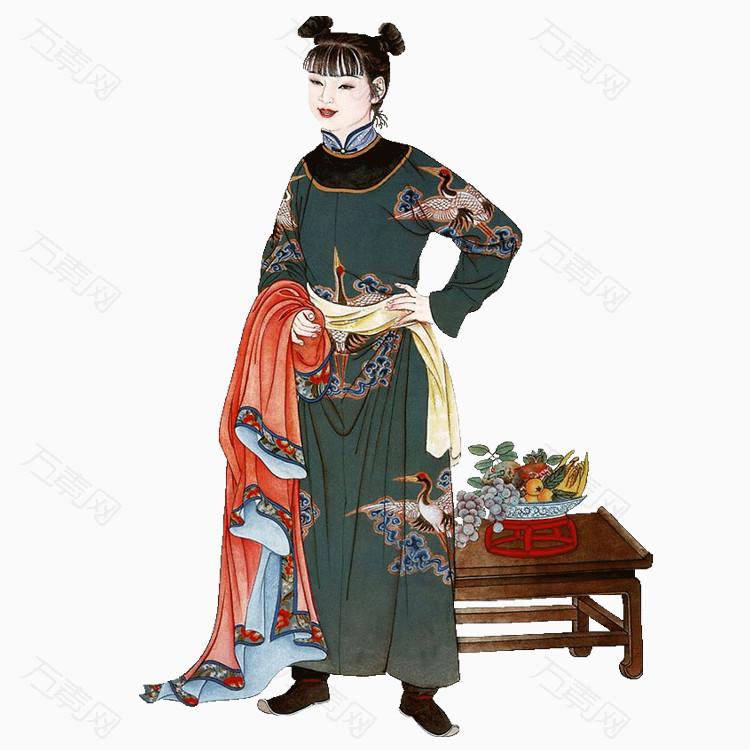 人物手绘中国风古代人物png透明图片素材