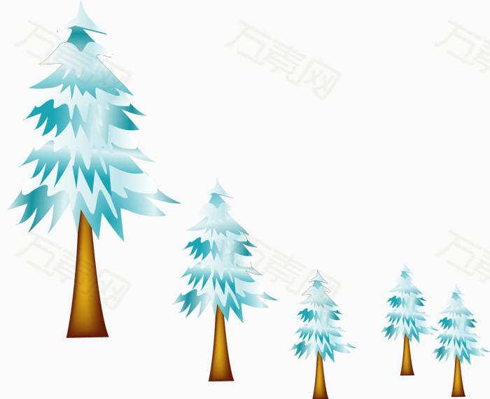 矢量手绘松树
