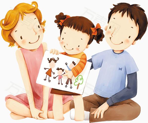 卡通幸福一家三口图片免费下载_装饰元素_万素网图片