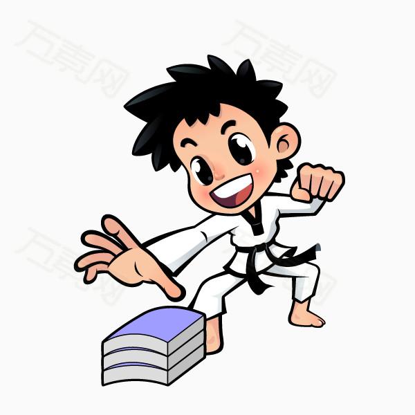 万素网 素材分类 跆拳道卡通人物形象劈物  万素网提供跆拳道卡通人物