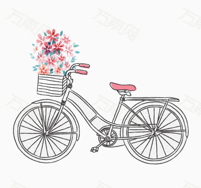 手绘黑白自行车