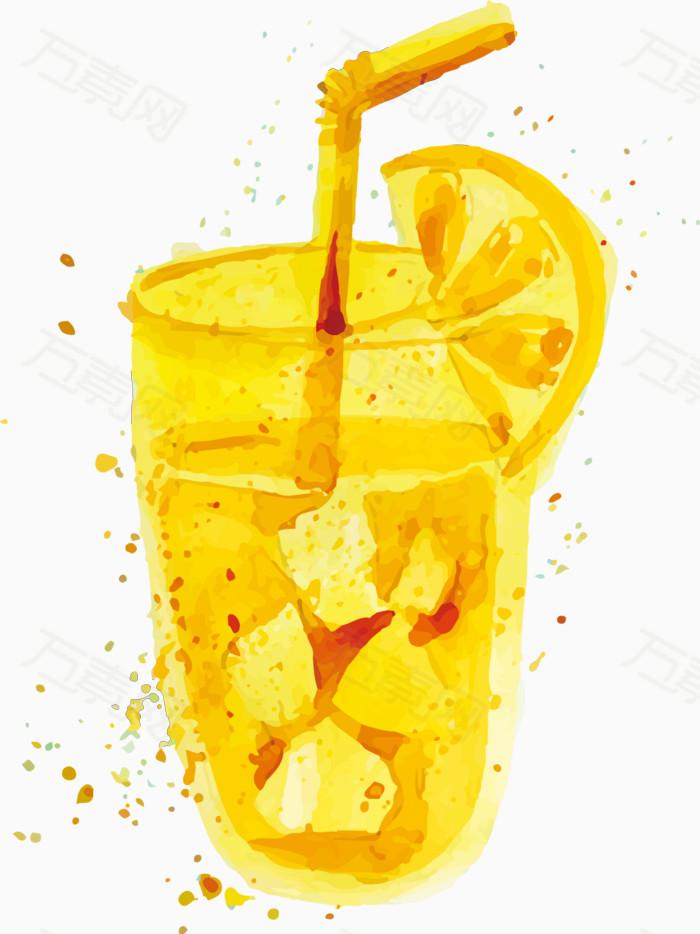 水彩手绘柠檬果汁