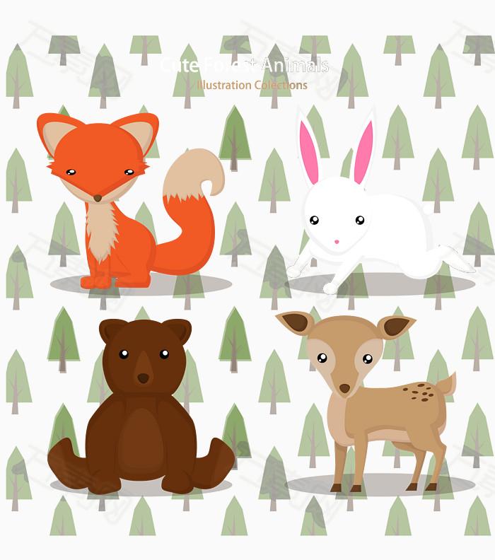可爱森林动物矢量