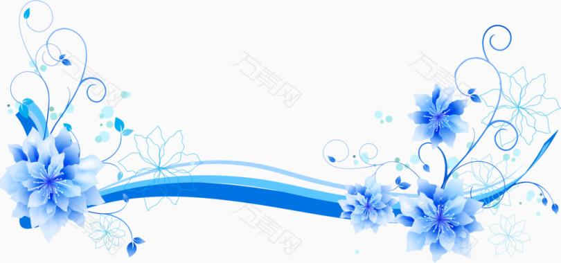 蓝色花朵线条