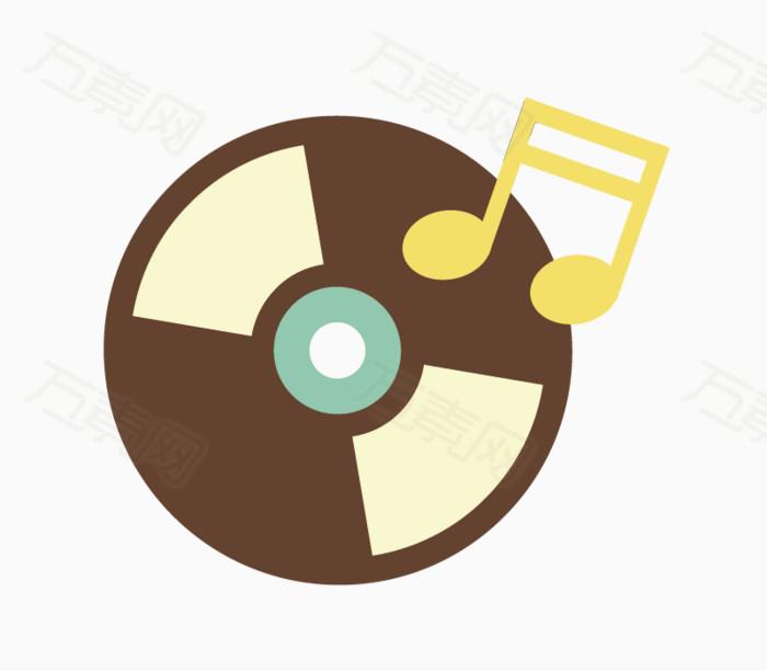 卡通手绘光盘与音乐符号