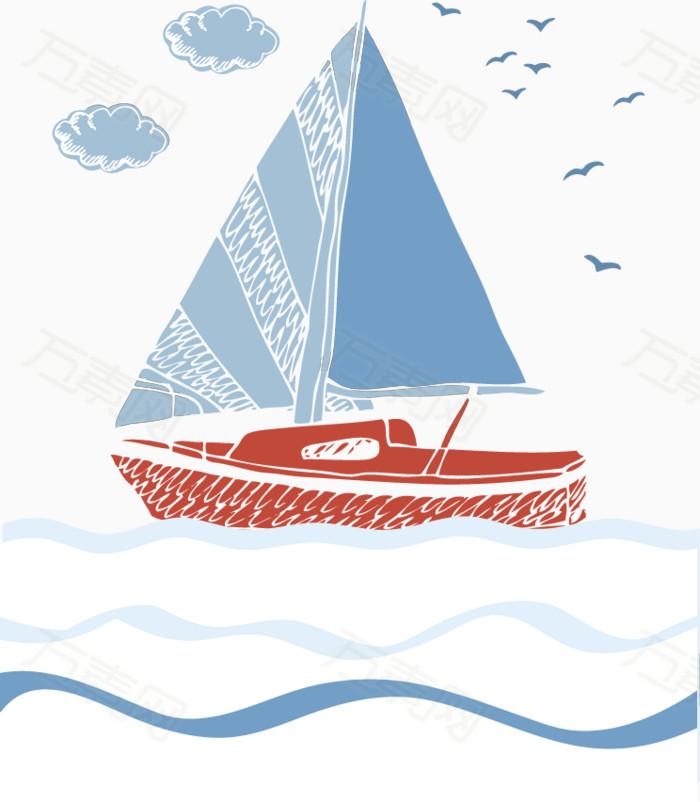 手绘帆船矢量图