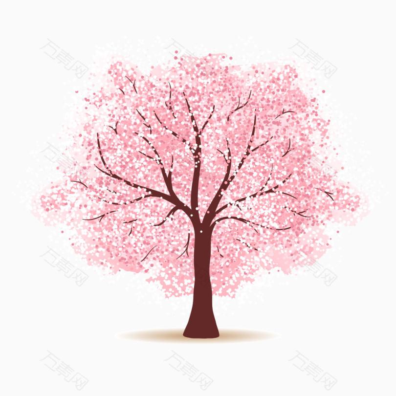 卡通手绘樱花树