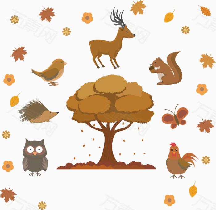 矢量手绘树动物