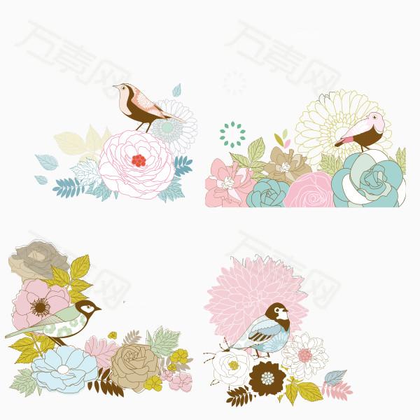 小鸟 鲜花 手绘 粉色花朵 唯美 春天