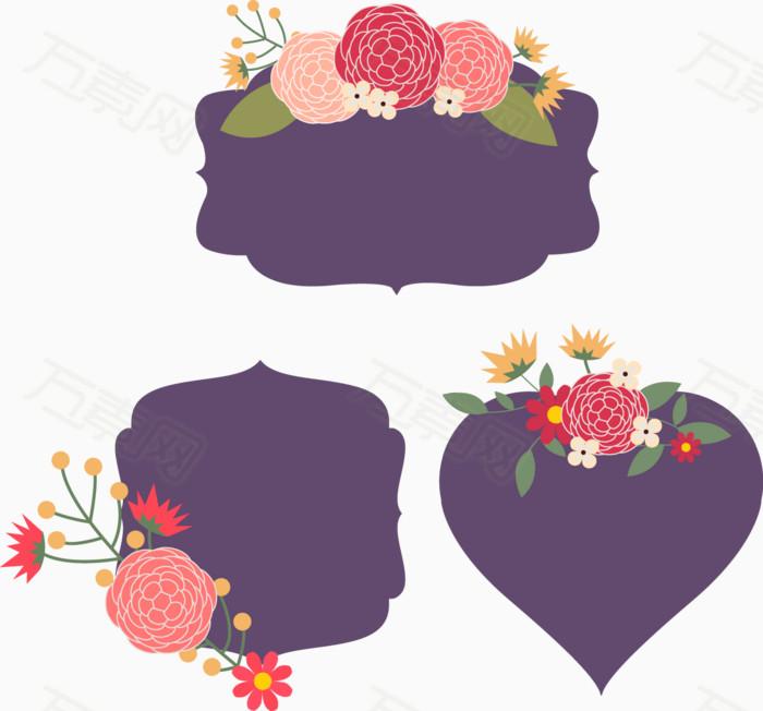 矢量手绘花朵标签