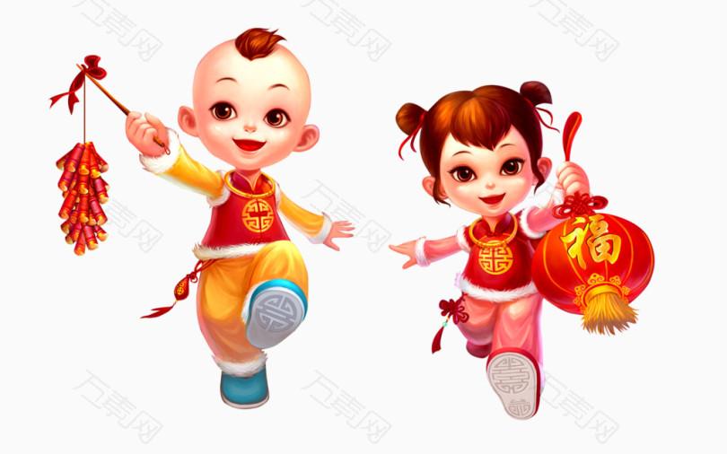 童女童男春节新年福娃提灯笼