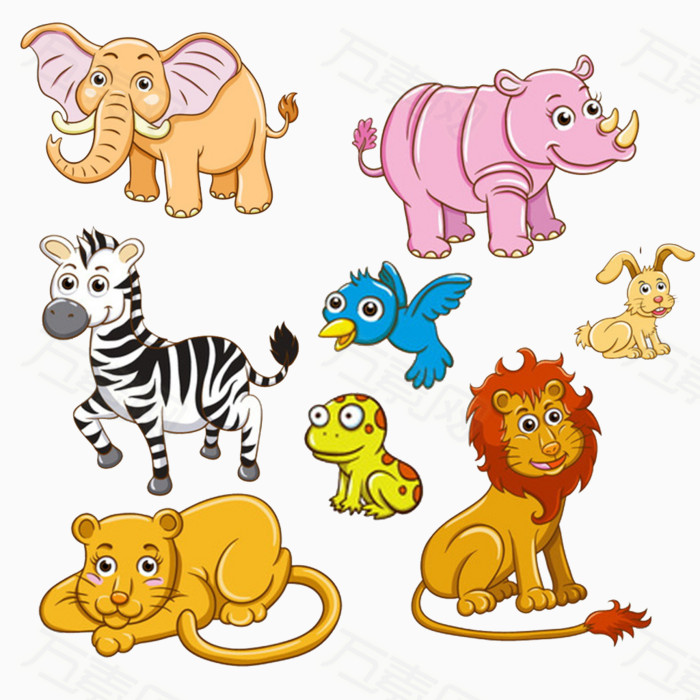小象 犀牛 斑马 鸟儿 青蛙 兔子 狮子 卡通 手绘 小动物