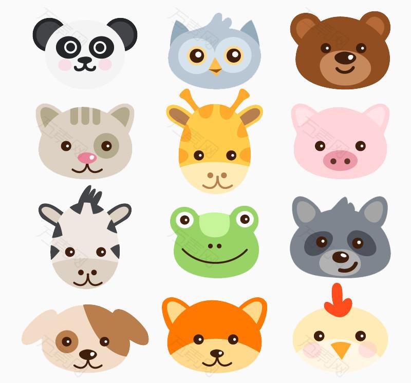 16款卡通动物头像矢量素材