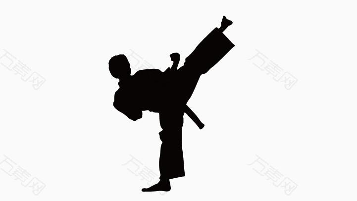 跆拳道人物剪影