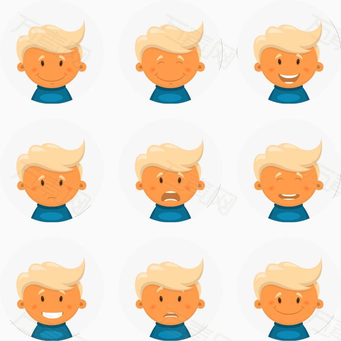 9款可爱男孩表情头像矢量图免费下载_装饰元素_1482