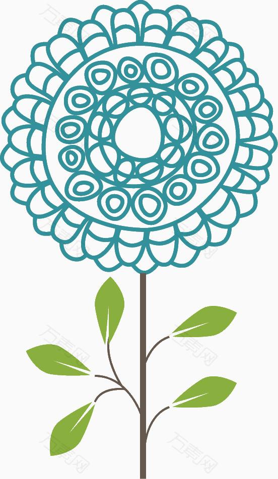 蓝色手绘线条花朵_花卉植物_552*952px_编号288833