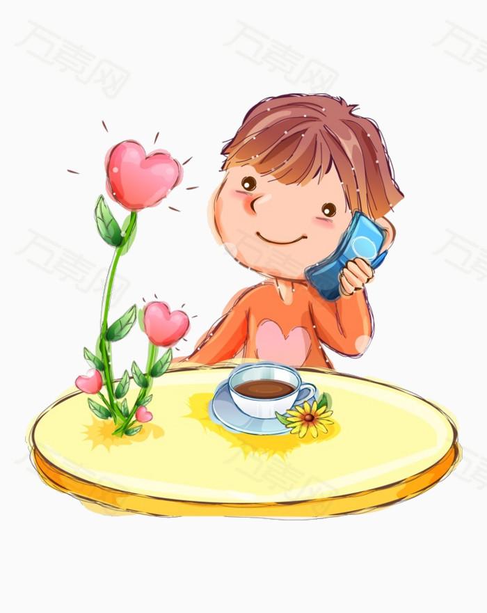 打电话的小孩图片免费下载_卡通手绘_万素网图片